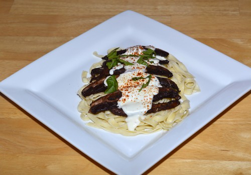 PORTOBELLO MUSHROOM WITH CHEESY CREAM SAUCE ON PASTA