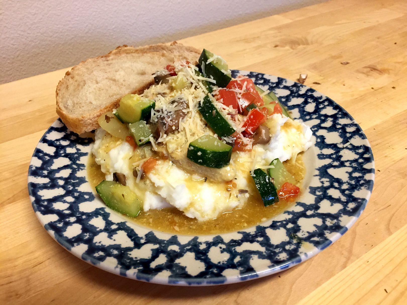 Chicken zucchini on mashed Potatoes